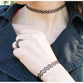 Schmuck Halsketten \/ Ringe \/ Armband Halskette \/ Armband \/ Halskette \/ Ring Modisch Alltag \/ Normal 1 Set Damen Schwarz Hochzeitsgeschenke