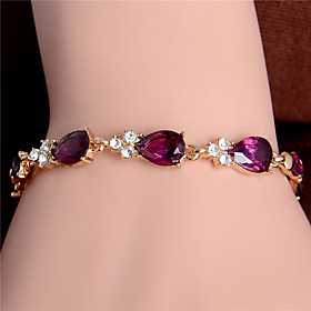 Trendy New Women/Lady's Fashion 18k Gold Plated Leaf 5 Colors CZ Stones Bracelets  Bangles Jewelry
