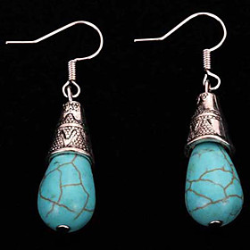 Women's Girls' Vintage Bohemian Silver Plated Turquoise Alloy Geometric Drop Jewelry Casual Costume Jewelry