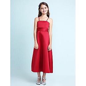 LAN TING BRIDE Knee-length Satin Junior Bridesmaid Dress A-line Princess Spaghetti Straps Natural with Sash / Ribbon Ruffles