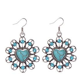 Vintage Brand Design Turquoise Earrings Crystal Rhinestone Bohemia Style Heart Earrings Jewelry For Woman
