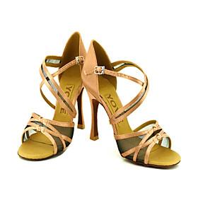 Customizable Women's Dance Shoes Latin/Ballroom Satin Customized Heel Black