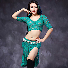 Belly Dance Outfits Women's Performance Lace 2 Pieces Black / Dark Green / White / Burgundy Half Sleeve Top / Skirt 5226224