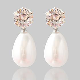 Women's Synthetic Diamond Stud Earrings Pearl Earrings Fashion Jewelry Silver For Wedding Party