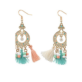 Vintage Bohemian Round Beads Drop Earrings Colorful Beads Tassel Dangle Earrings Fashion Jewelry For Women