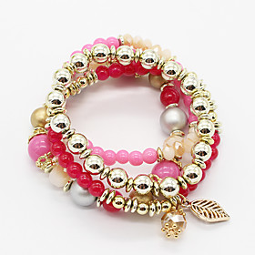 Fashion Bohemian Leaves Multi layer Charm Bracelet Resin Beaded Charm Bracelets Women Jewelry 5178638