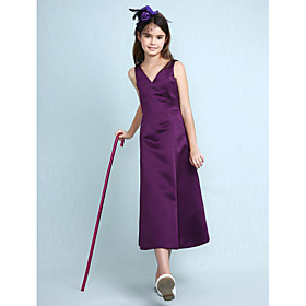 A-Line Princess V-neck Knee Length Satin Junior Bridesmaid Dress with Pleats by LAN TING BRIDE