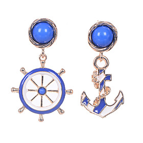 European Style Fine Jewelry Vintage Blue Resin Dangle Earrings Original Asymmetric Boat Helm Anchor Earrings For Women