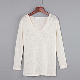 Women's Loose Sexy V Neck Long Sleeve Sweaters with Hood