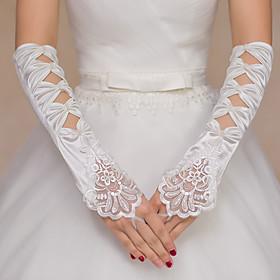 Elbow Length Fingerless Glove Nylon Bridal Gloves Spring Appliques