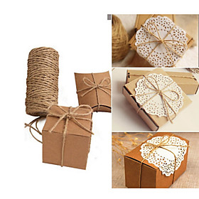 Image of 100M Christmas Hemp Jute Rope Cord Marline for Wedding Favors Candy Boxes DIY Decor (Size: 1, Color: Brown)