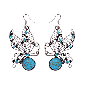 Beautiful Tibetan Silver Turquoise Rhinestone Butterfly Dangle Earrings For Women Girls Vintage Jewelry plus size,  plus size fashion plus size appare