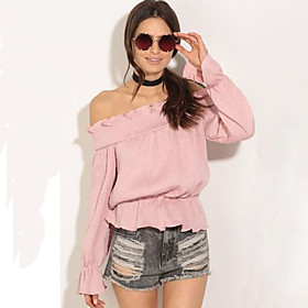 Women's Casual/Daily Street chic Peplum Off-The-Shoulder Summer T-shirt,Solid Boat Neck Long Sleeve