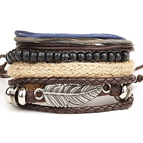Men's Leather Bracelet Wrap Bracelet Punk Personalized Multi Layer Leather Alloy Round Wings / Feather Brown Jewelry ForDaily Casual 5146196