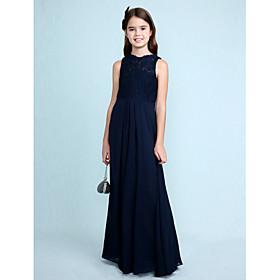 Lanting Bride Floor-length Chiffon / Lace Junior Bridesmaid Dress Sheath / Column Scoop with Lace
