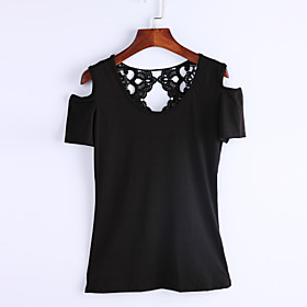 Women's Solid Patchwork Lace Hollow Out Off Shoulder All Match T-shirt,Round Neck Short Sleeve