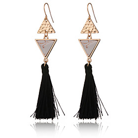 New Design Women's Turquoise Tassle Earrings Gold Plated Triangle Earrings Vintage Ethnic Long Earrings Jewelry plus size,  plus size fashion plus size appare