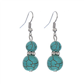New Design Ethnic Style Vintage Earring Jewelry Silver Plated Gourd Shape Turquoise Earrings For Women