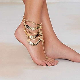 Women's Layered Tassel Stacking Stackable Anklet Barefoot