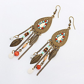 2016 Vintage Fashion Long Tassel Earrings Retro Bohemian Beaded Oval Leaves Dangle Earrings For Women Boucle 5178657