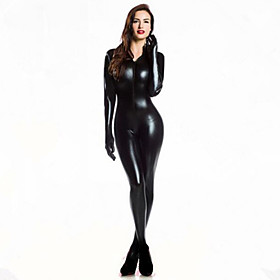 Women Zentai Bodysuit Jumpsuit Sexy Black Shiny Latex Full Body Zentai Suit Lycra Jumpsuit catsuit With Gloves Halloween/Christmas/New Year 5187763