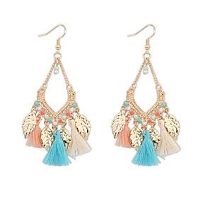 Bohemian Fashion Jewelry 2016 Gold Plated Leaves Tassel Earrings For Women Statement Long Earring Gifts