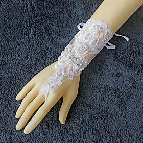 Wrist Length Fingerless Glove Lace Bridal Gloves Beading / Pearls / Rhinestone