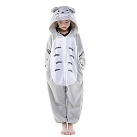Kigurumi Pajamas New Cosplay Cat Totoro Leotard/Onesie Festival/Holiday Animal Sleepwear Halloween Gray Patchwork Polar Fleece Kigurumi 1383206