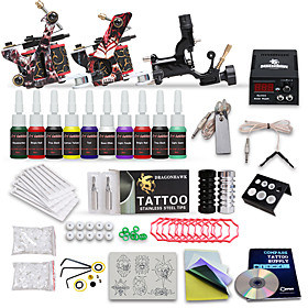 Professional Tattoo Kit 10 Color Inks 1 Rotary Machine 2 Cast Iron Machines Liner  Shader LCD Power 20 Tattoo Needles