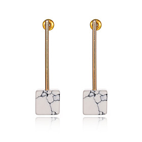 European Style Vintage Women Jewelry Gold Plated White Natural Stone Dangle Earrings Square Turquoise Earrings