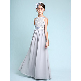 2017 Lanting Bride Floor-length Chiffon / Lace Junior Bridesmaid Dress Sheath / Column Bateau with Lace