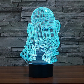 Robot Touch Dimming 3D LED Night Light 7Colorful Decoration Atmosphere Lamp Novelty Lighting Light