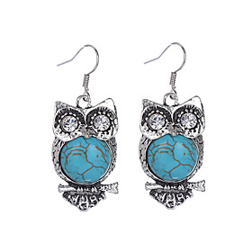 Women's Girls' Vintage Party Casual Bohemian Rhinestone Silver Plated Imitation Diamond Turquoise Alloy Owl Jewelry Party Daily Casual