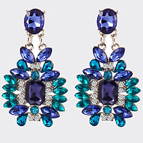 Women Party Jewelry Fashion Design Jewelry Top Quality Luxury Blue Crystal Drop Earrings Vintage Accessories
