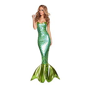 Mermaid Tail Cosplay Costume Party Costume Women's Halloween Carnival Festival / Holiday Outfits Green Vintage