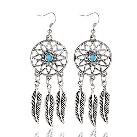 Women's Girls' Silver Plated 1 Drop Earrings - Vintage Bohemian Silver Round Leaf Earrings For Party Daily Casual plus size,  plus size fashion plus size appare