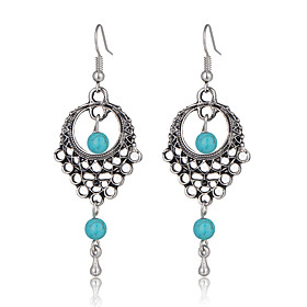 High Quality Ethnic Vintage Bohemian Style Jewelry Turquoise Beads Dangle Earrings Hollow Flower Earrings 5179298