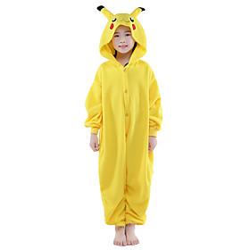 Kigurumi Pajamas Pika Pika Leotard/Onesie Festival/Holiday Animal/Halloween Yellow Solid For Kid Polar Fleece