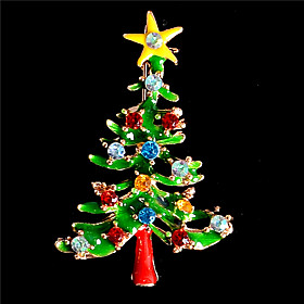 Fashion Austrian Crystal Christmas Brooch Santa Claus Snow Skiing Brooch Xma..