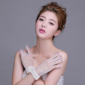 Wrist Length Fingertips Glove Net Bridal Gloves with Beading / Pearls