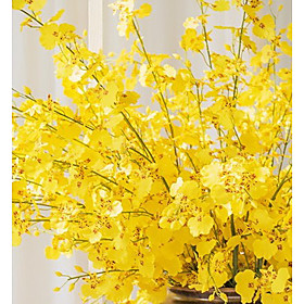 "35.5"" 1 Branch Simulation Oncidium Orchid Silk Flowers Living Room Bedroom Home Decoration Artificial Flowers"