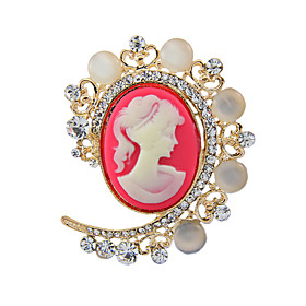 Women's Fashion Imitation Pearl Crystal Antique Silver Vintage Brooch Pins J..