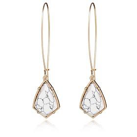 Vintage Popular Jewelry Accessories Irregular Geometric Turquoise Stone Dangle Earrings Long Earrings for Women