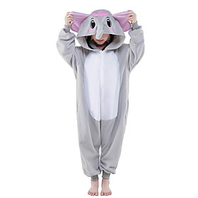 Kigurumi Pajamas Elephant Onesie Pajamas Costume Polar Fleece Gray Cosplay For Children's Animal Sleepwear Cartoon Halloween Festival / 5076436