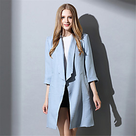 Image of Plus Size Women's Simple Casual Fashion Loose 3/4 Sleeve Long Coat Jacket Trench Coat