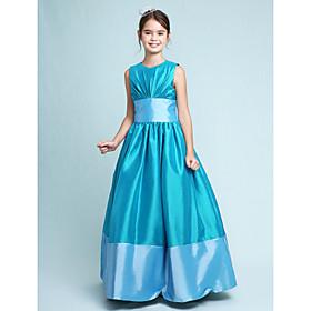 A-Line Princess Jewel Neck Floor Length Taffeta Junior Bridesmaid Dress with Draping Sash / Ribbon by LAN TING BRIDE
