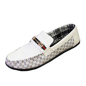 Men's Loafers  Slip-Ons Spring / Summer Comfort PU Casual Flat Heel Slip-on Black / White Walking