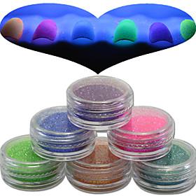 1 Set Nail Art Beautiful Noctilucent Powder Colorful Color Glitter Shining Nail Beauty Decoration YG07-12