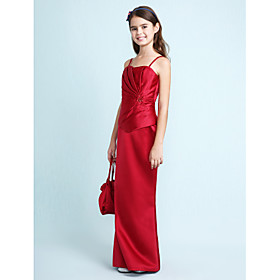 Lanting Bride Floor-length Satin Junior Bridesmaid Dress Trumpet / Mermaid Sweetheart / Spaghetti Straps Natural withBeading / Side