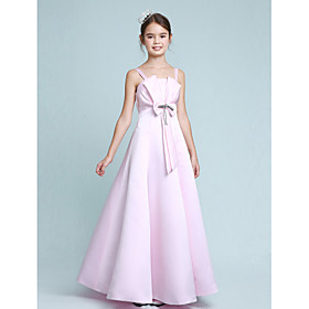 A-Line Princess Spaghetti Straps Floor Length Stretch Satin Junior Bridesmaid Dress with Beading Bow(s) by LAN TING BRIDE